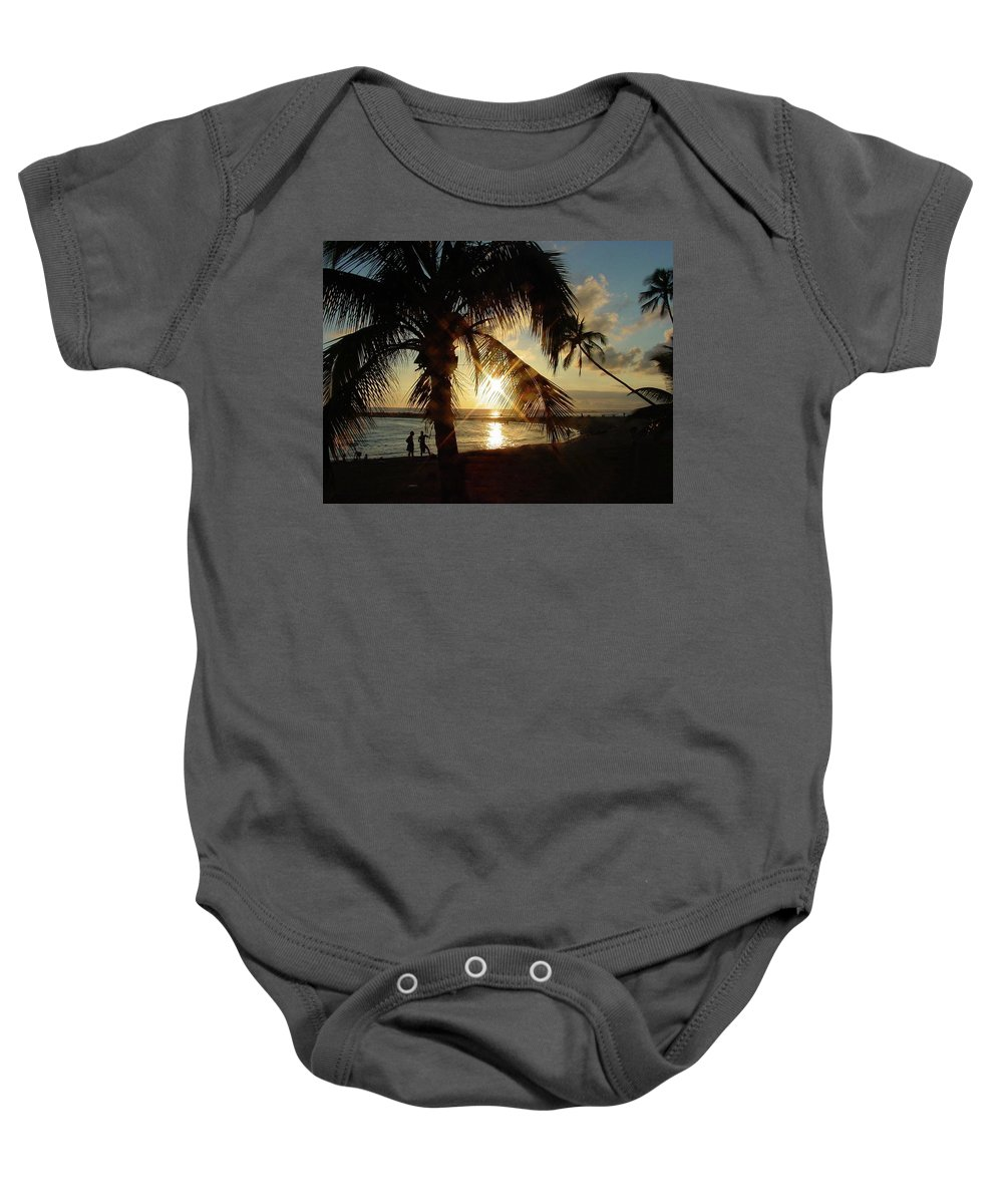 Hawaii Baby Onesie featuring the photograph Hawaiian Sunset by Judy Galinis