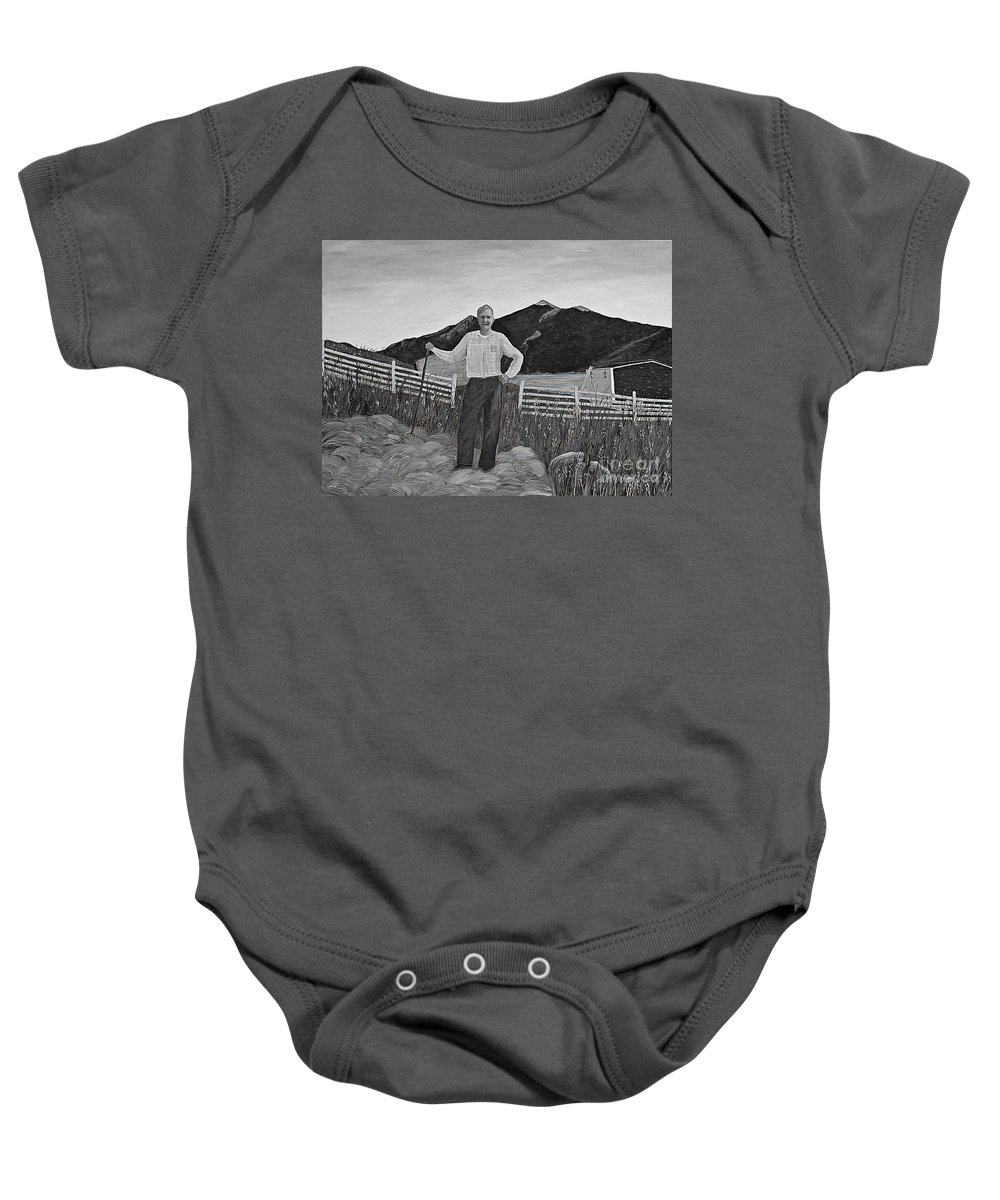 Barbara Griffin Baby Onesie featuring the painting Haymaker With Pitchfork B W by Barbara Griffin