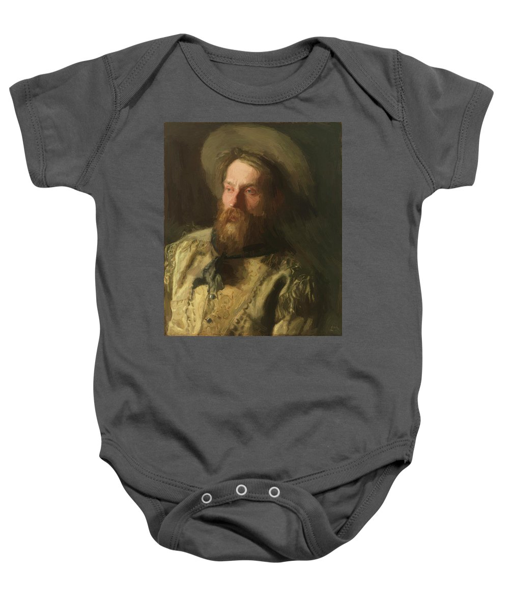 Head Baby Onesie featuring the painting Head Of A Cowboy by Eakins Thomas