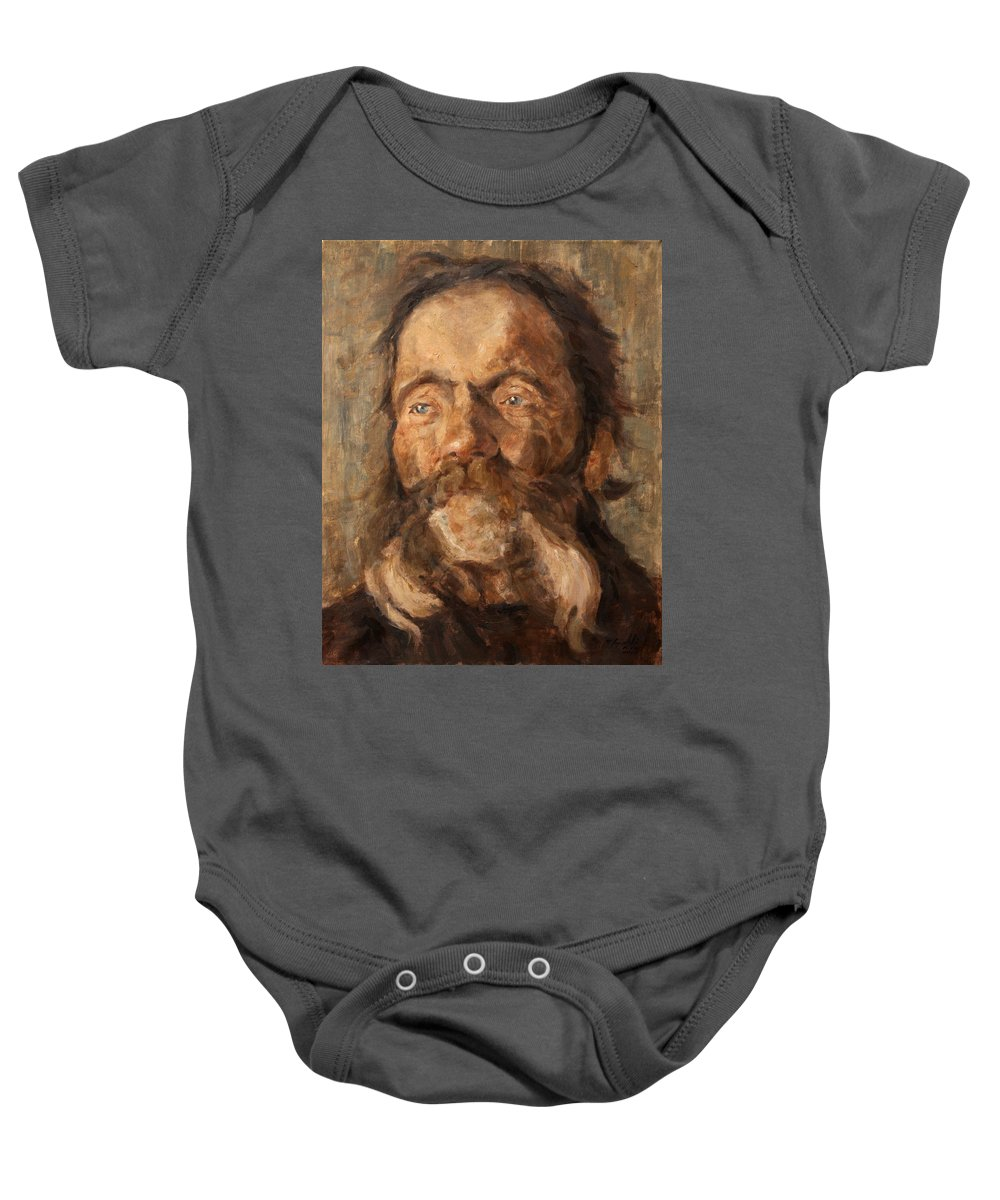 Portrait Baby Onesie featuring the painting Head of an old Man by Darko Topalski