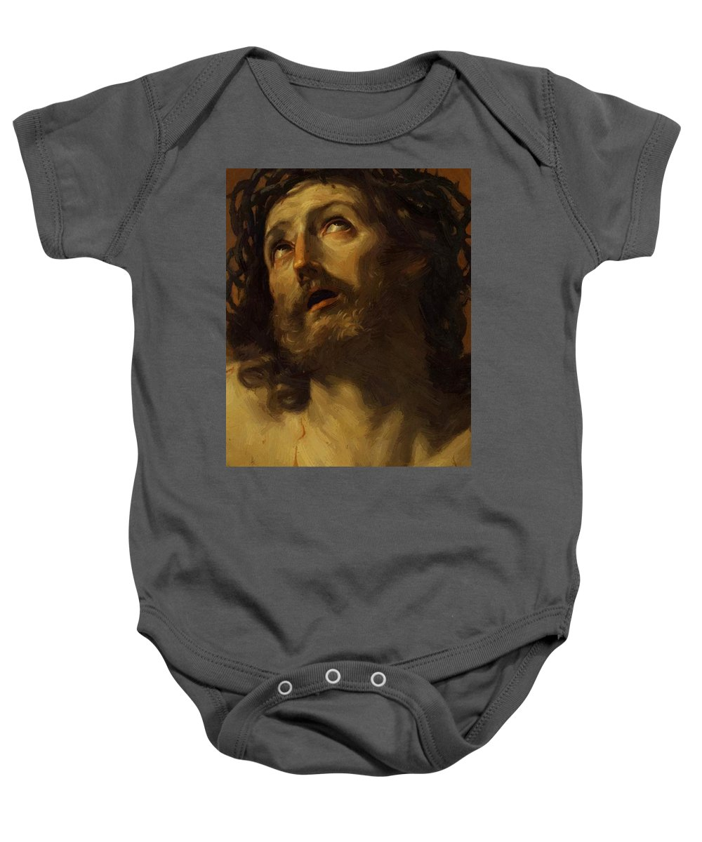Head Baby Onesie featuring the painting Head Of Christ Crowned With Thorns 1620 by Reni Guido
