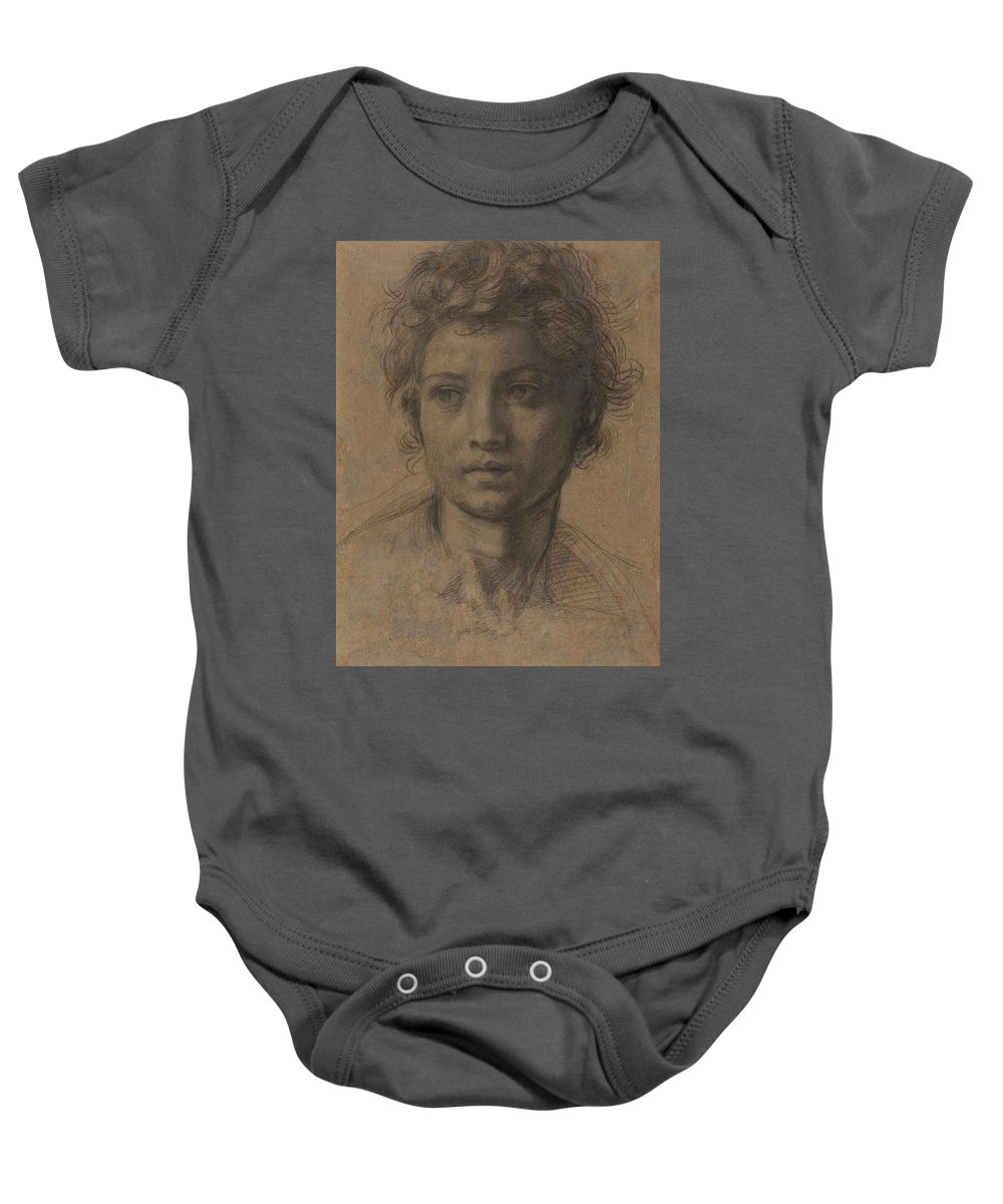 Andrea Del Sarto Baby Onesie featuring the drawing Head Of Saint John The Baptist by Andrea Del Sarto