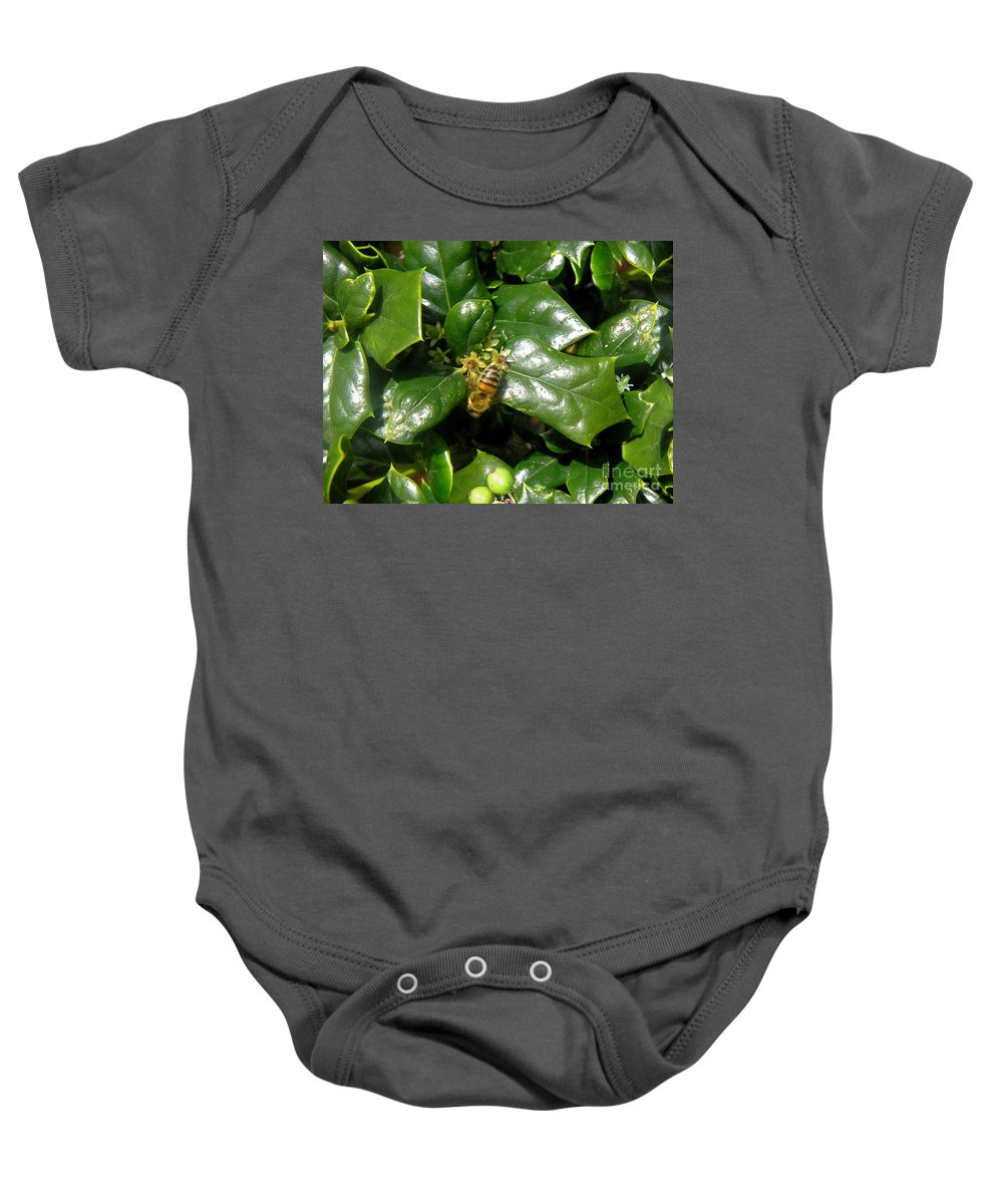 Nature Baby Onesie featuring the photograph Head Over Heels In The Holly by Lucyna A M Green
