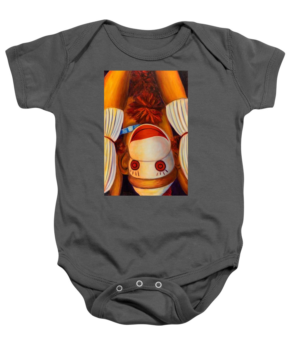 Children Baby Onesie featuring the painting Head-over-heels by Shannon Grissom