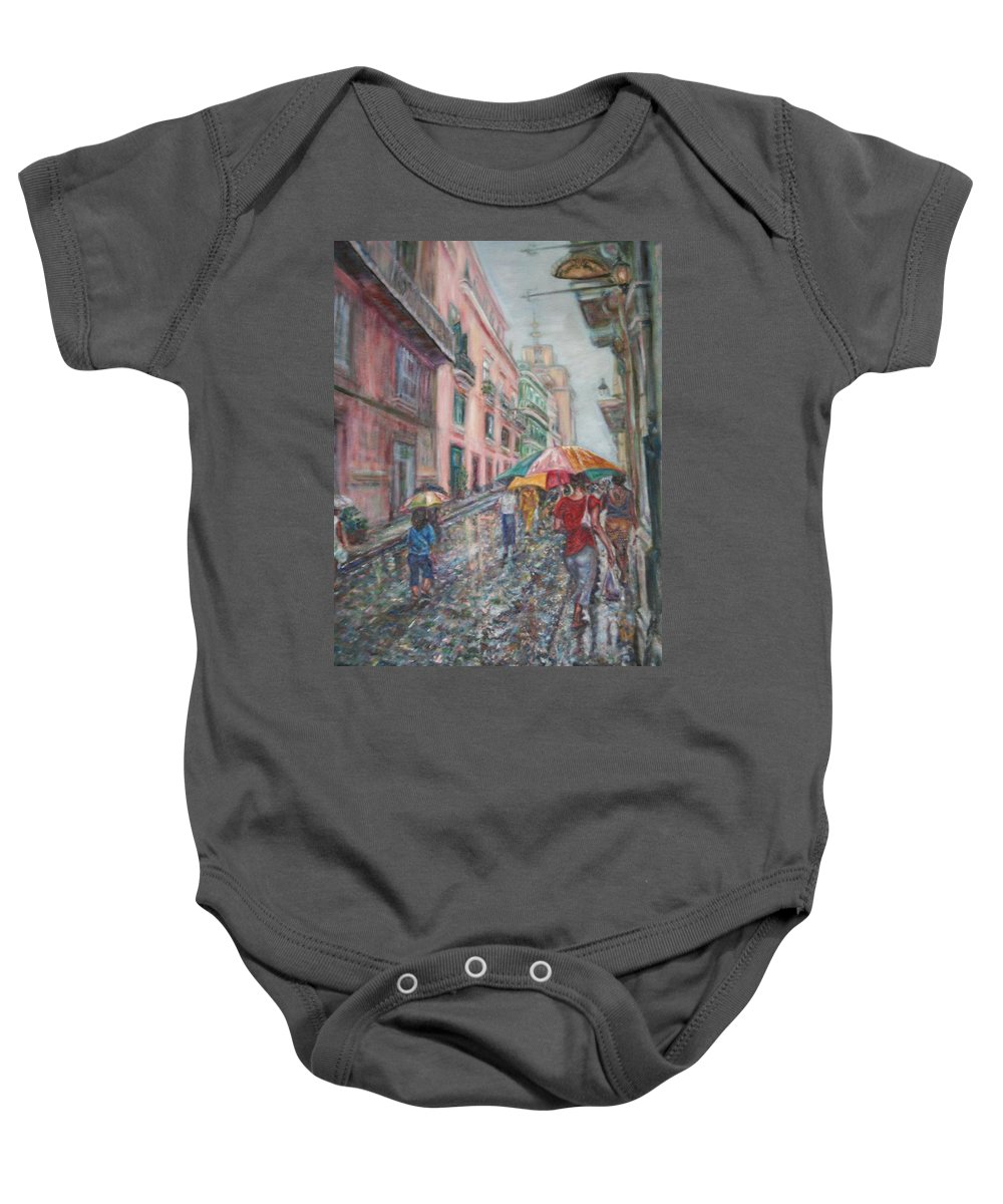 Women Baby Onesie featuring the painting Heading Home In Havava by Quin Sweetman