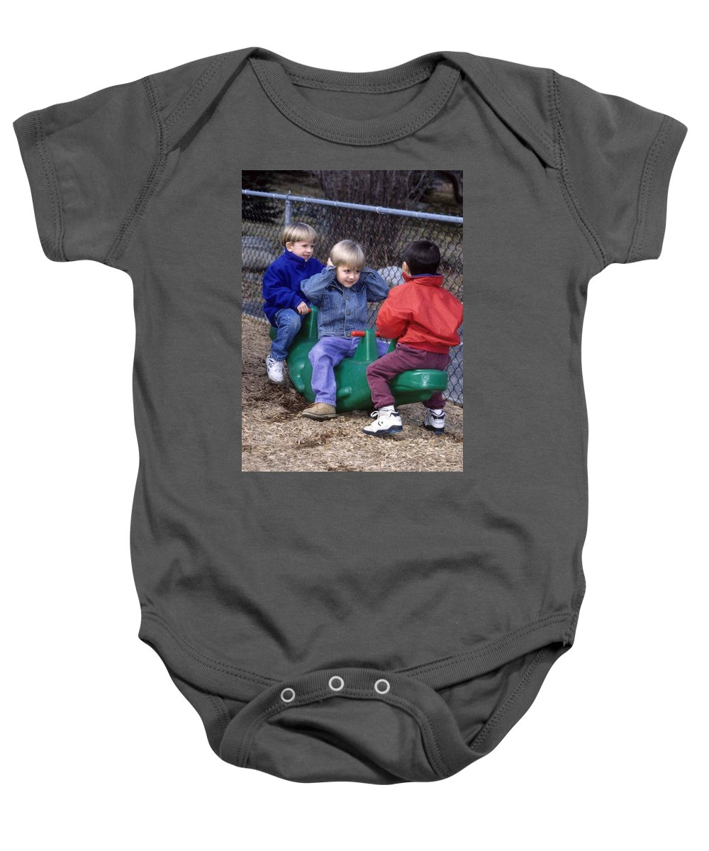Children Baby Onesie featuring the photograph Hear No Evil See No Evil Speak No Evil by Laurie Paci