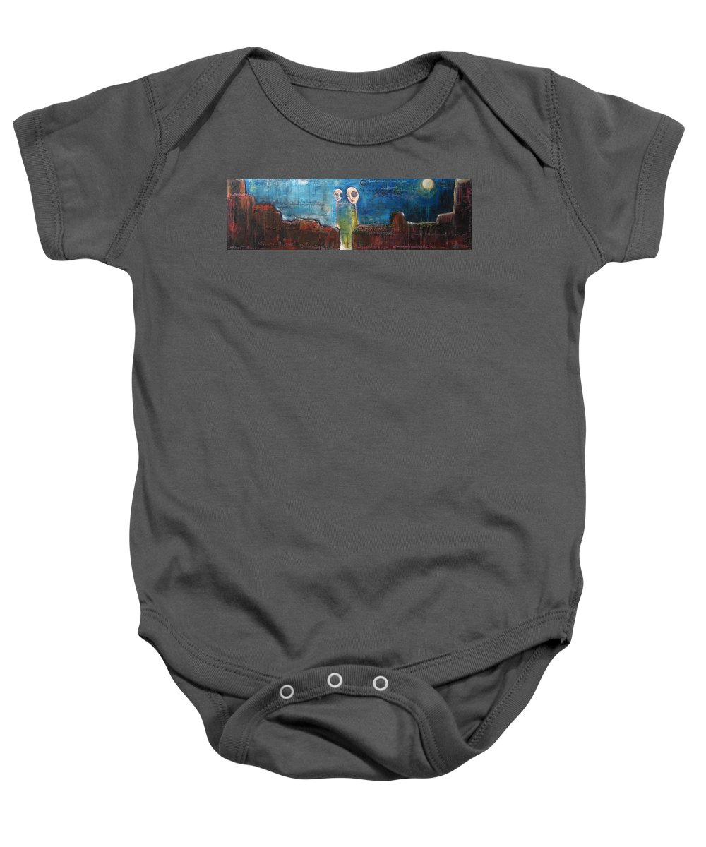 From The Lollipop Love Series Baby Onesie featuring the painting Heart Beats The Same by Laurie Maves ART