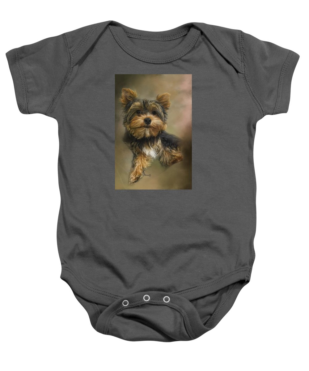 Yorkie Baby Onesie featuring the digital art Heart In Small Packages by Kimberly Stevens