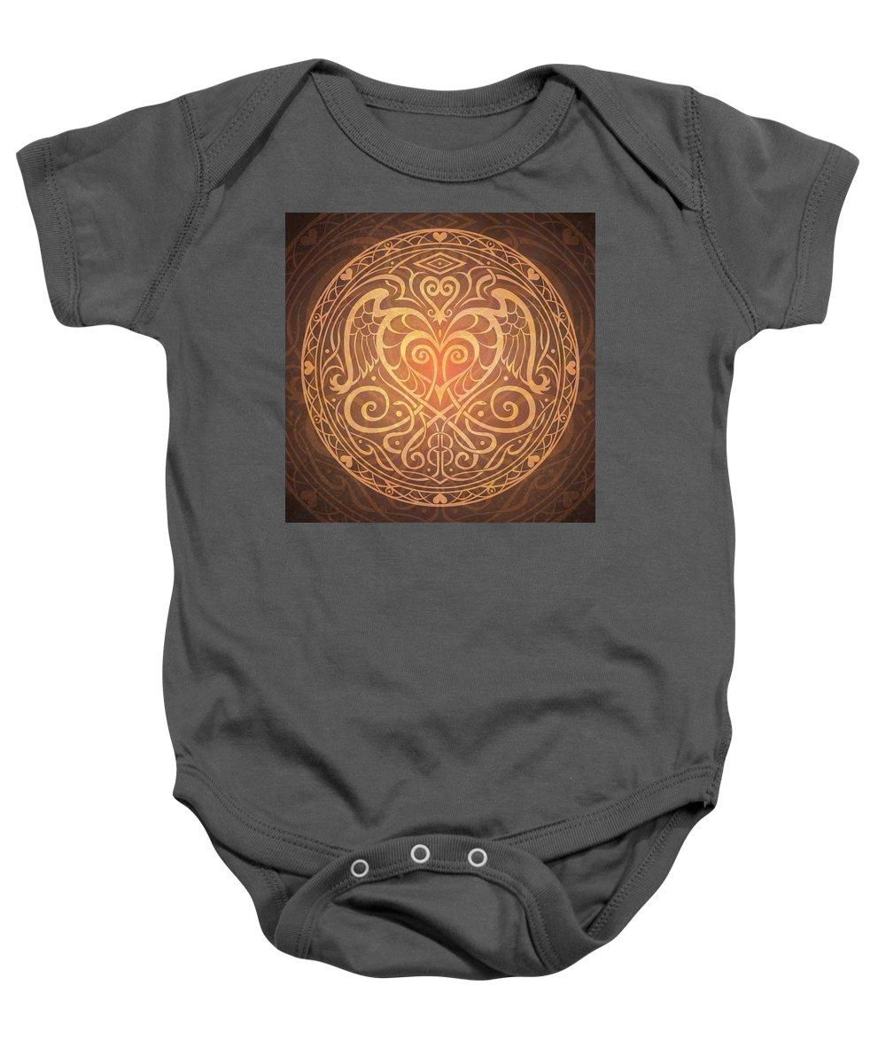 Mandala Baby Onesie featuring the digital art Heart Of Wisdom Mandala by Cristina McAllister