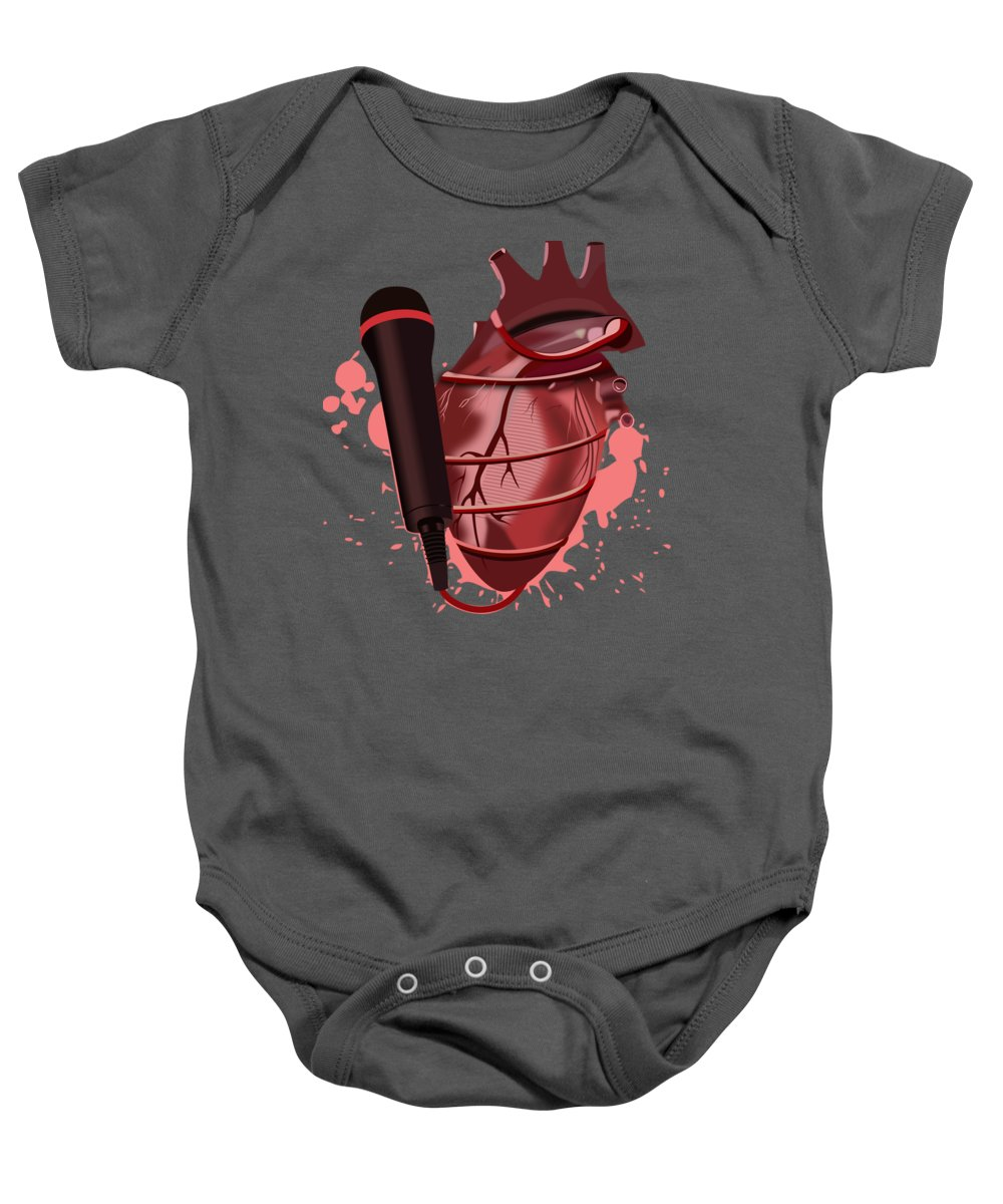 Music Heart Microphone Baby Onesie featuring the drawing Heart Song1 by Marchel Walker