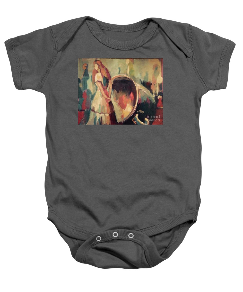 Figure Baby Onesie featuring the painting Hearth Of My Childhood by Nelya Pinchuk