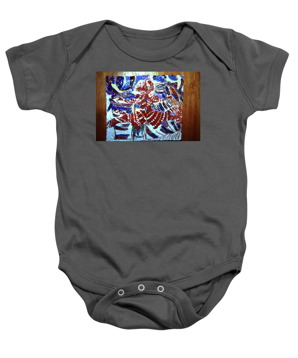 Plaquesmamamama Africa Twojesus Baby Onesie featuring the ceramic art Hearts Drum 8 by Gloria Ssali