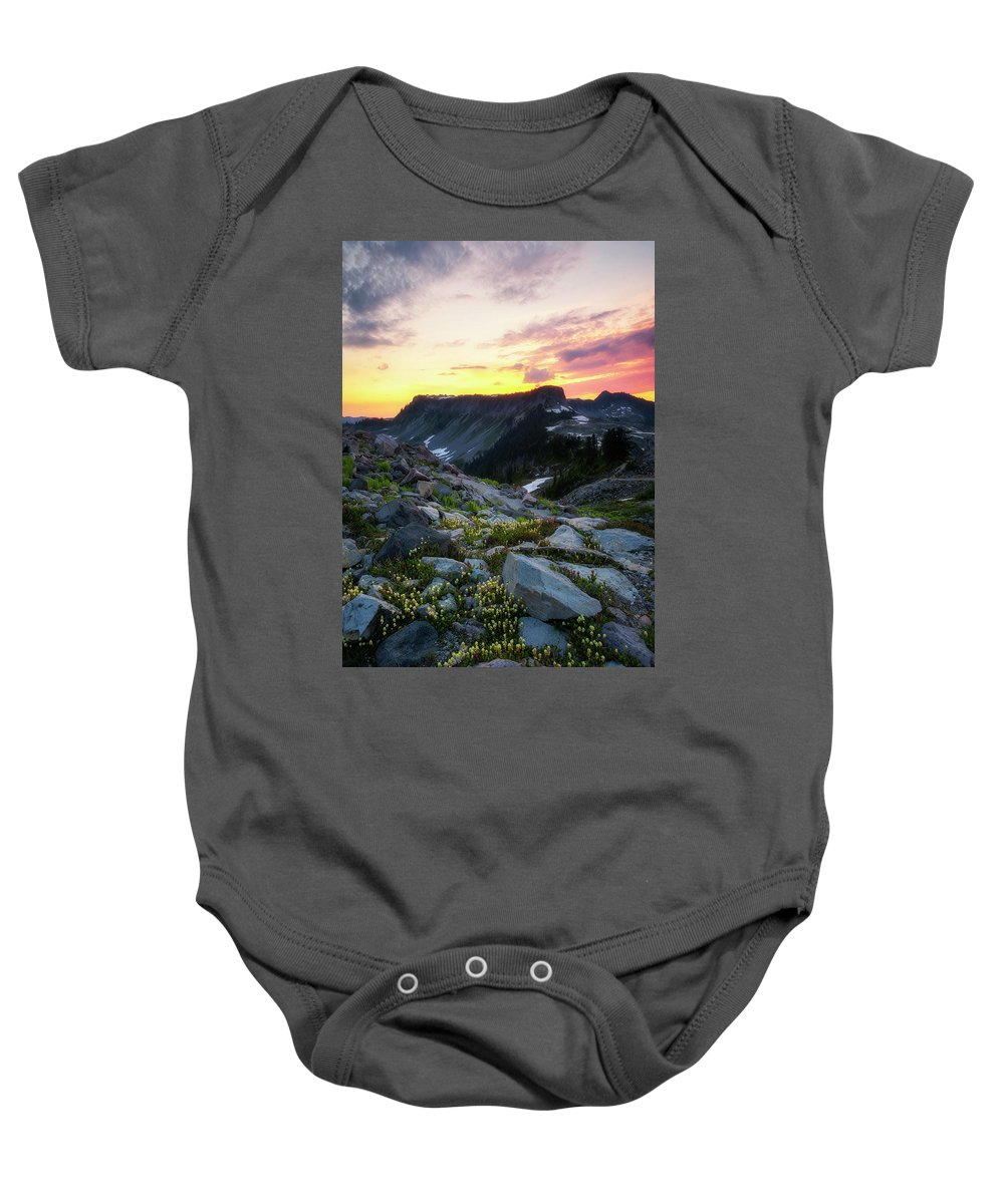 Meadows Baby Onesie featuring the photograph Heather Meadows Sunset by Ryan Manuel