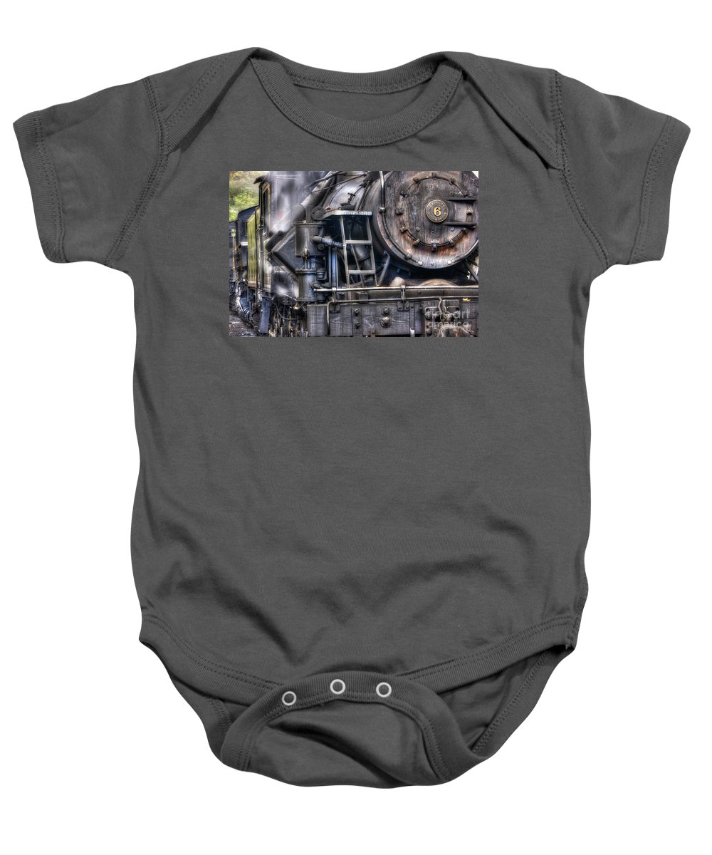 Antiquated Baby Onesie featuring the photograph Heisler Steam Engine by Jerry Fornarotto