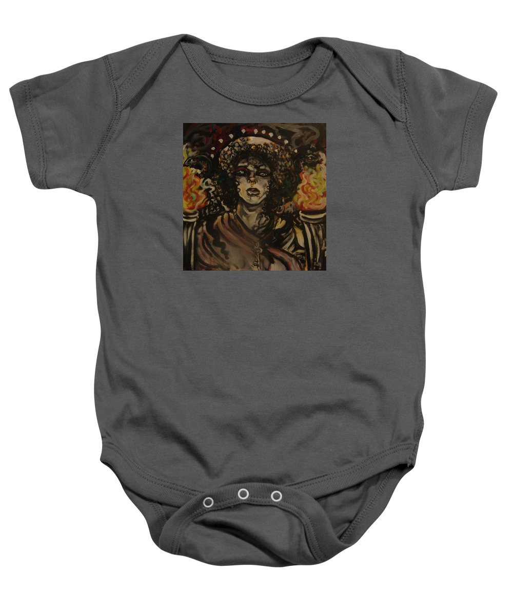 Hekate Baby Onesie featuring the painting Hekate II by Samantha Sanders