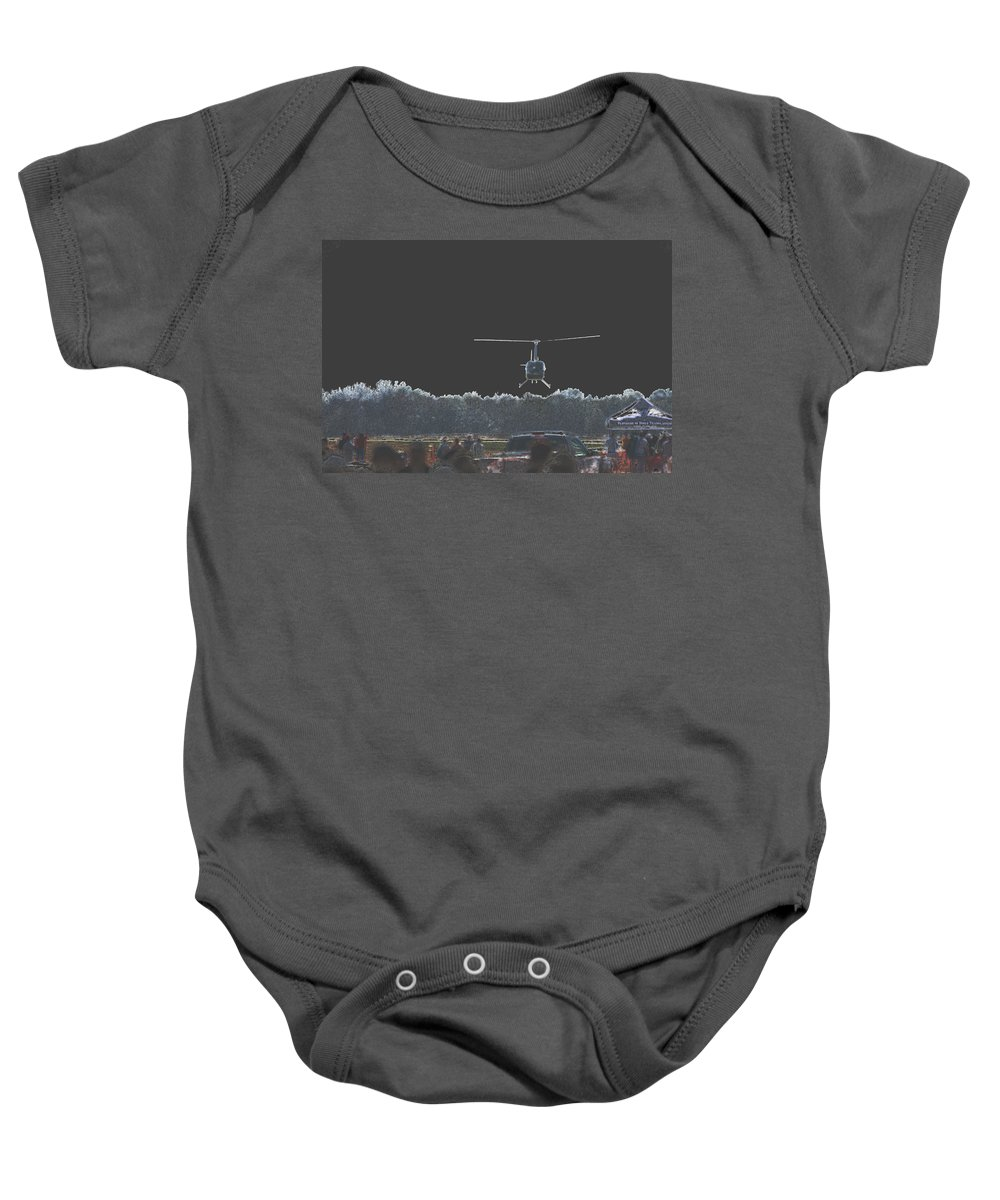 Military Baby Onesie featuring the photograph Helicopter Lift by Karol Livote