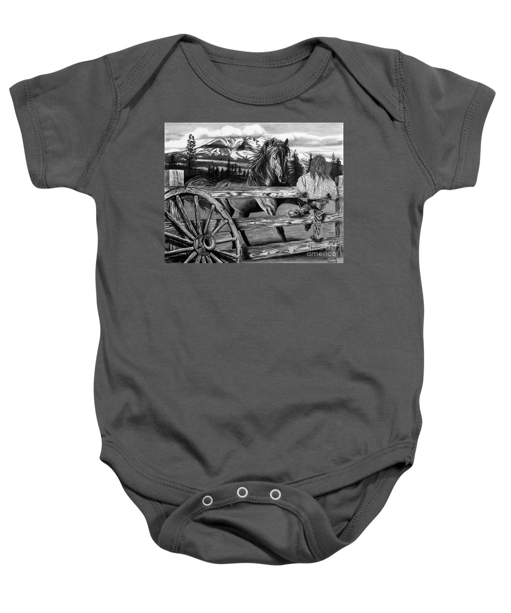 Hello Girl Baby Onesie featuring the drawing Hello Girl by Peter Piatt