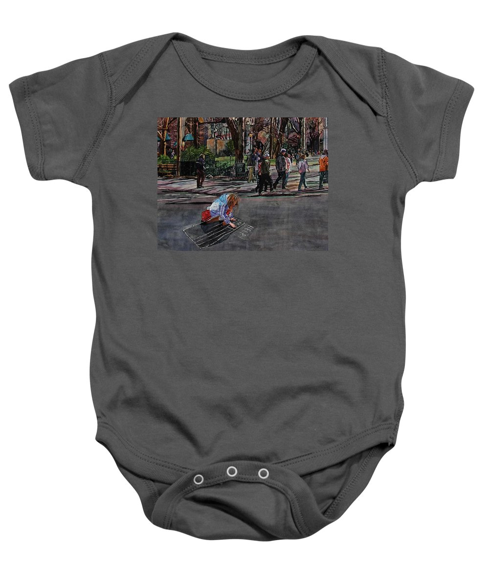 Political Baby Onesie featuring the painting Help by Valerie Patterson