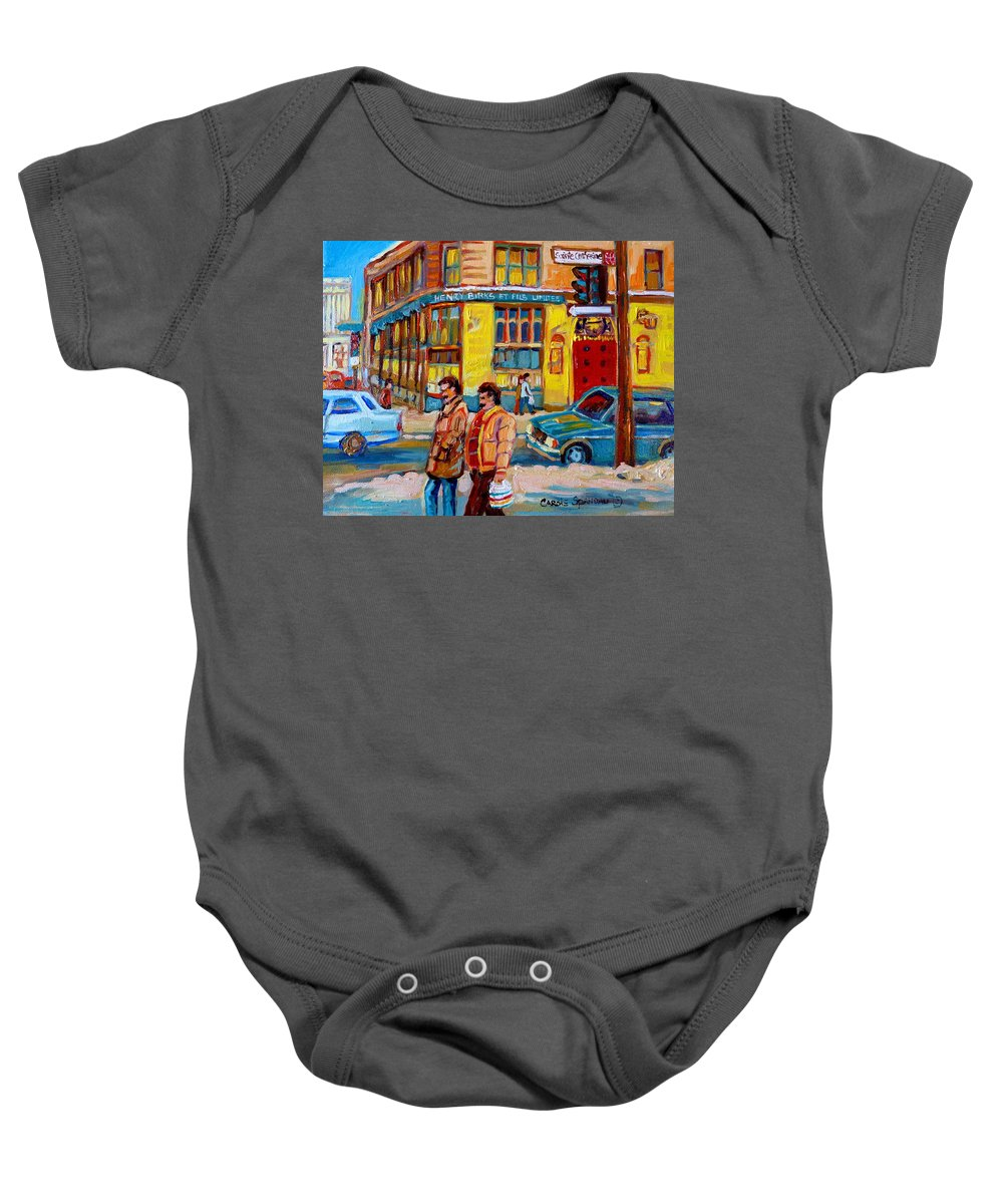 Downtown Montreal Baby Onesie featuring the painting Henry Birks On St Catherine Street by Carole Spandau