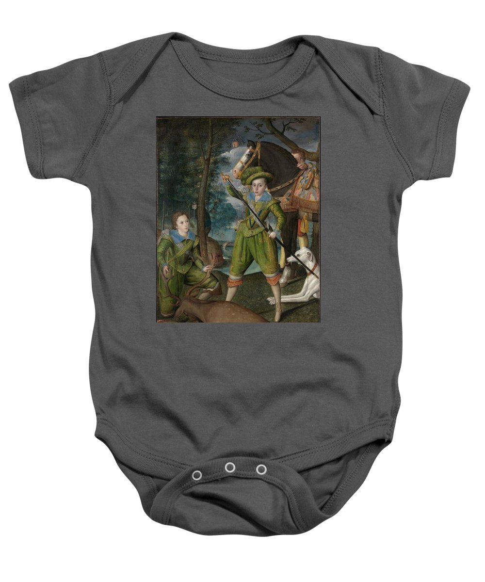 Robert Peake The Elder Henry Frederick 15941612 Prince Of Wales With Sir John Harington 15921614 In The Hunting Field Baby Onesie featuring the painting Henry Frederick 15941612 Prince Of Wales With Sir John Harington 15921614 In The Hunting Field by Robert Peake the Elder