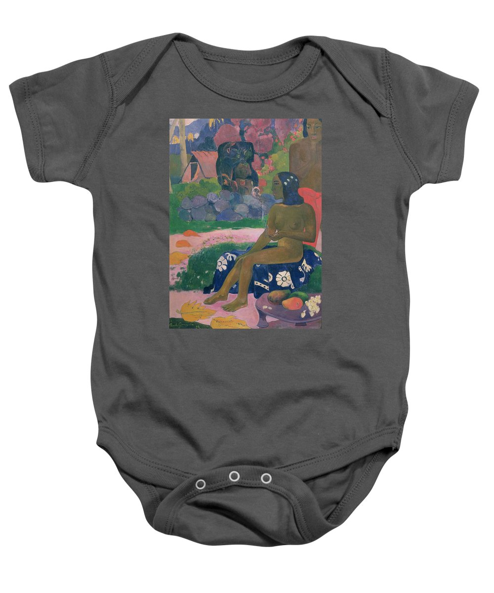 Vairaumati Tei Oa (her Name Is Vairaumati) Baby Onesie featuring the painting Her Name Is Vairaumati by Paul Gauguin