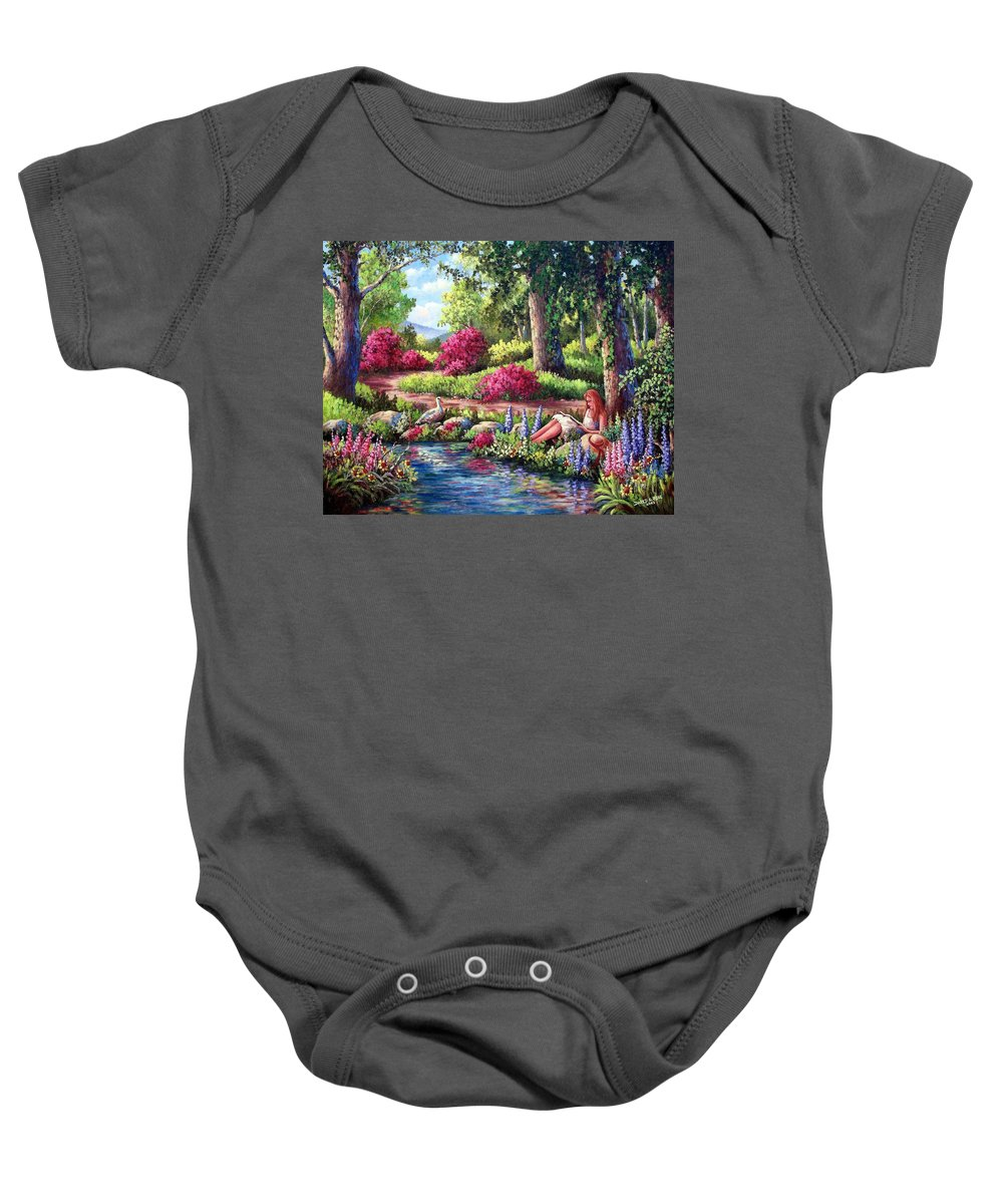 Read Baby Onesie featuring the painting Her Reading Hideaway by David G Paul