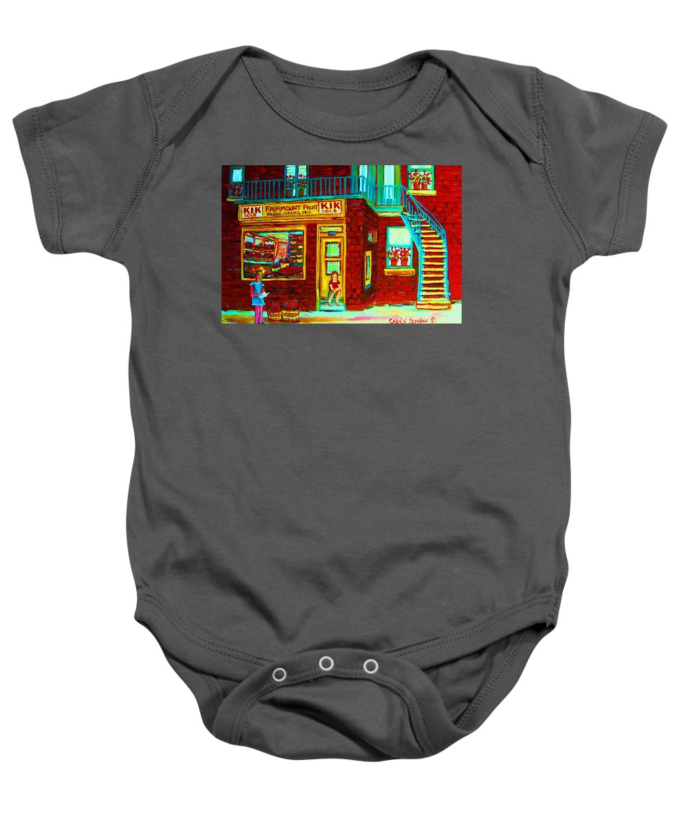 Fmontreal Baby Onesie featuring the painting Her Shopping List by Carole Spandau