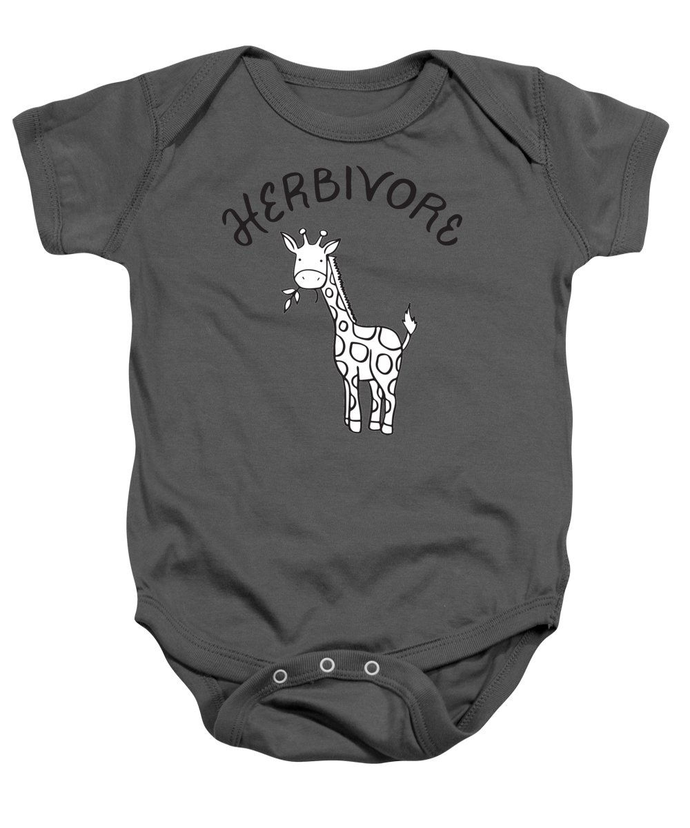 Vegan Baby Onesie featuring the drawing Herbivore by Raise Vegan
