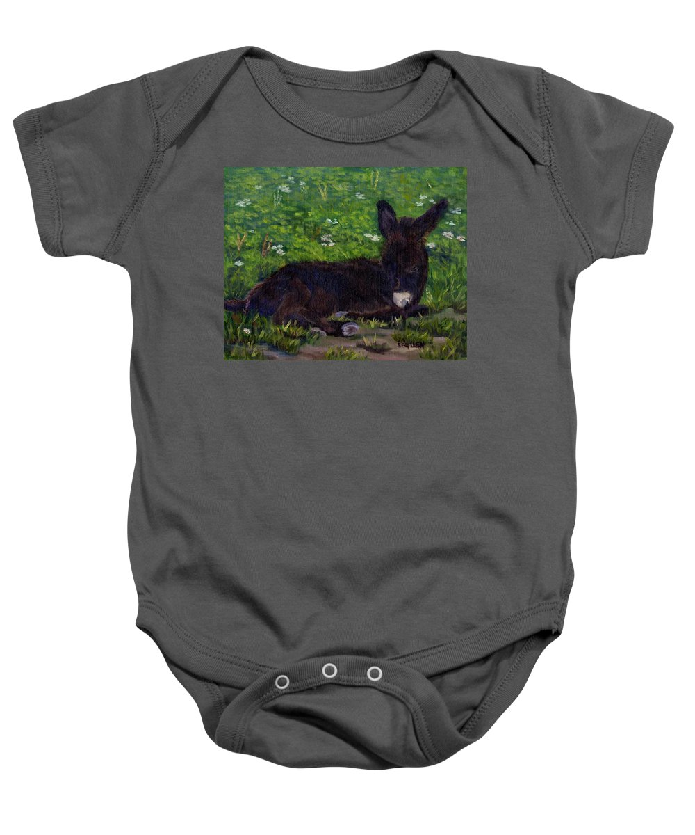 Donkey Baby Onesie featuring the painting Hercules by Sharon E Allen