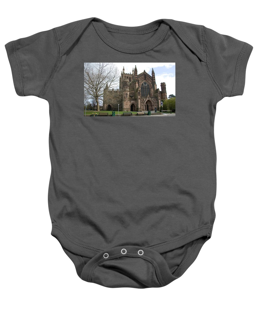 Cathedral Baby Onesie featuring the photograph Hereford Cathedral England by Bob Kemp
