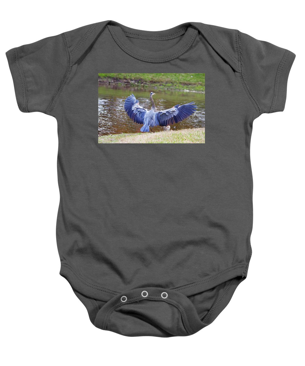 Blue Heron Baby Onesie featuring the photograph Heron Bank Landing by Deborah Benoit