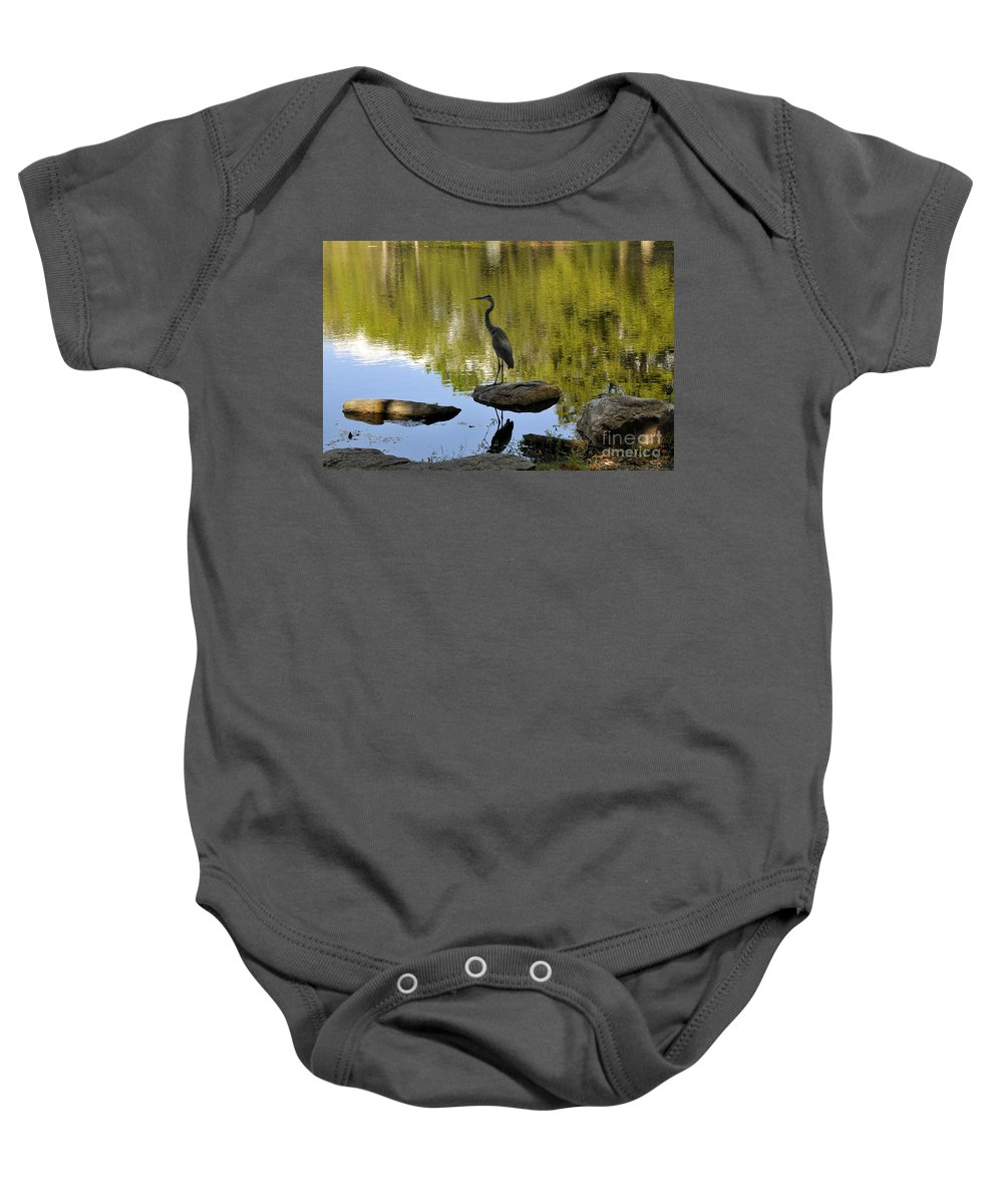 Heron Baby Onesie featuring the photograph Heron By The Lake by David Lee Thompson