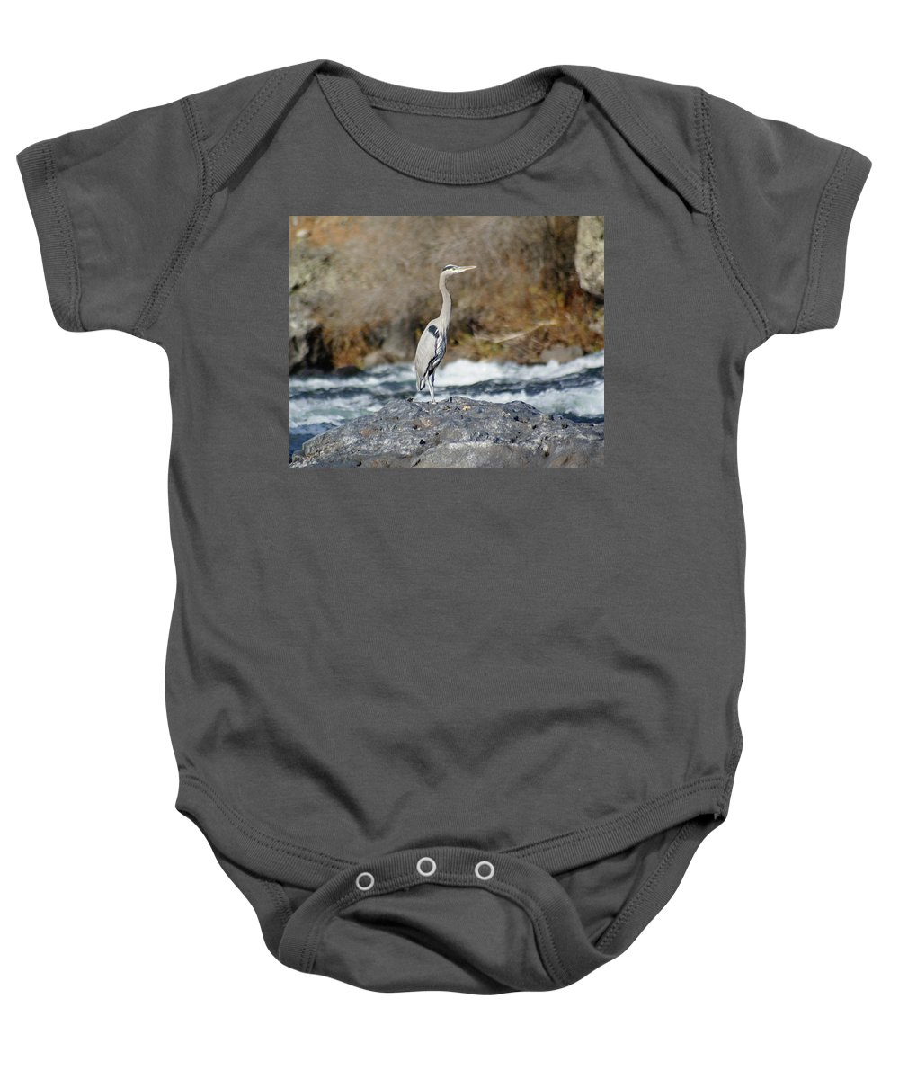 Spokane Baby Onesie featuring the photograph Heron The Rock by Ben Upham III