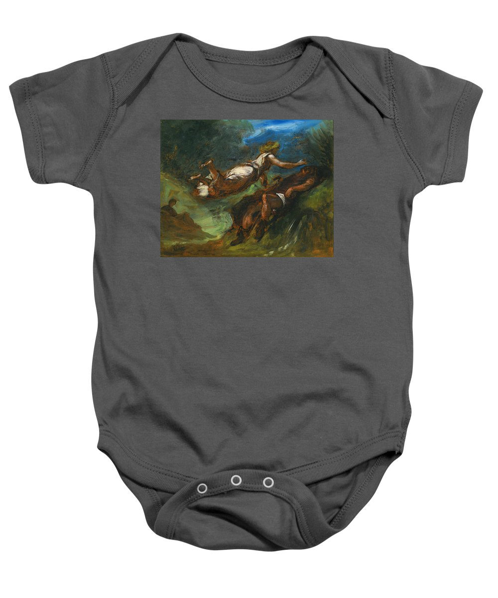 Eugene Delacroix Baby Onesie featuring the painting Hesiod And The Muse by Eugene Delacroix