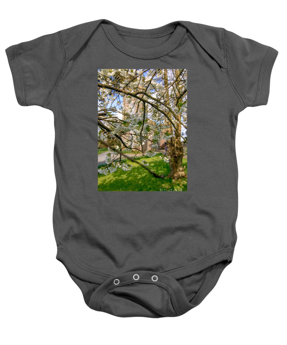Cherry Blossom Baby Onesie featuring the photograph Hidden Church 1 by Marc Daly