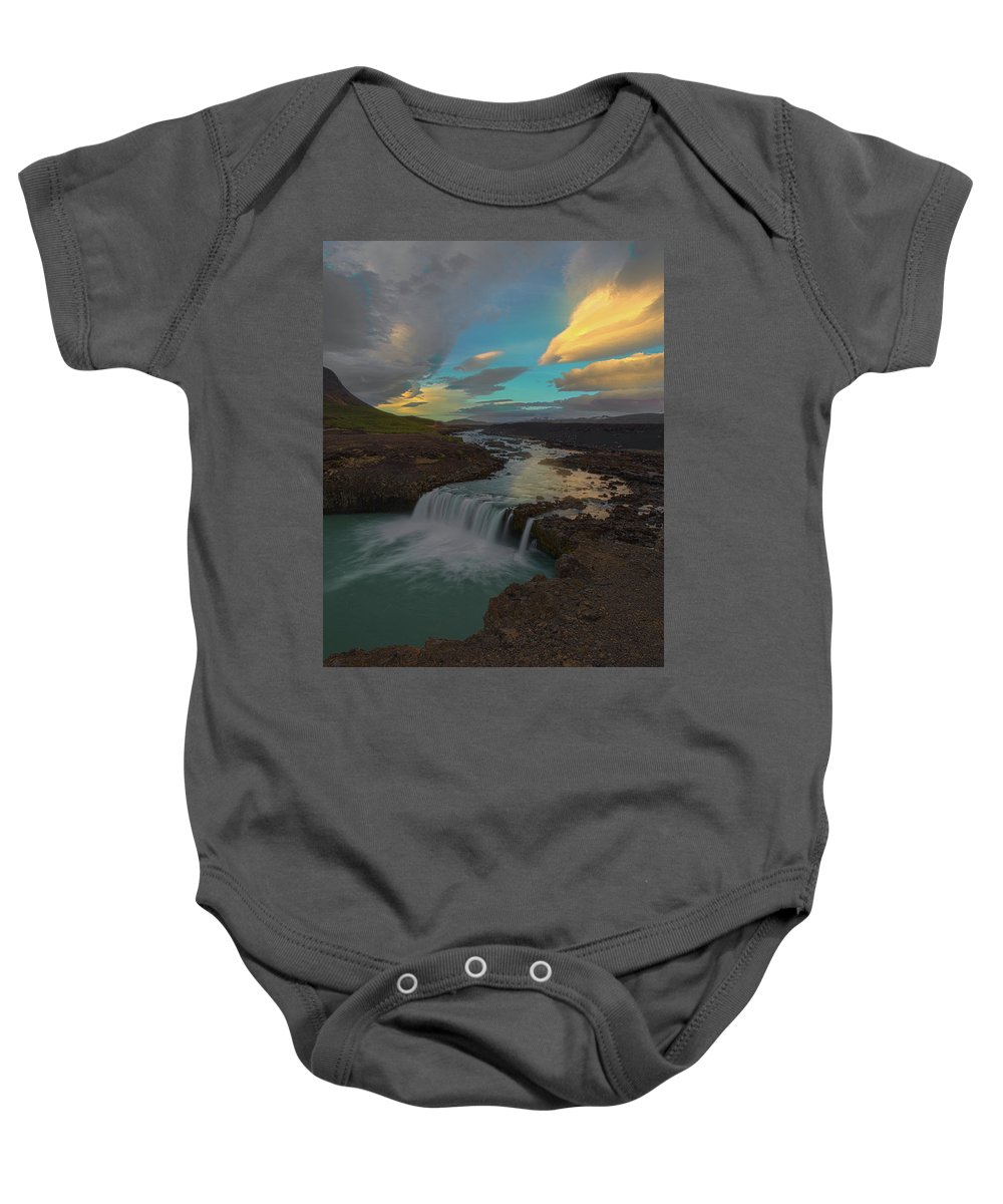 Iceland Baby Onesie featuring the photograph Hidden Icelandic Waterfall by Nicholas Palmieri
