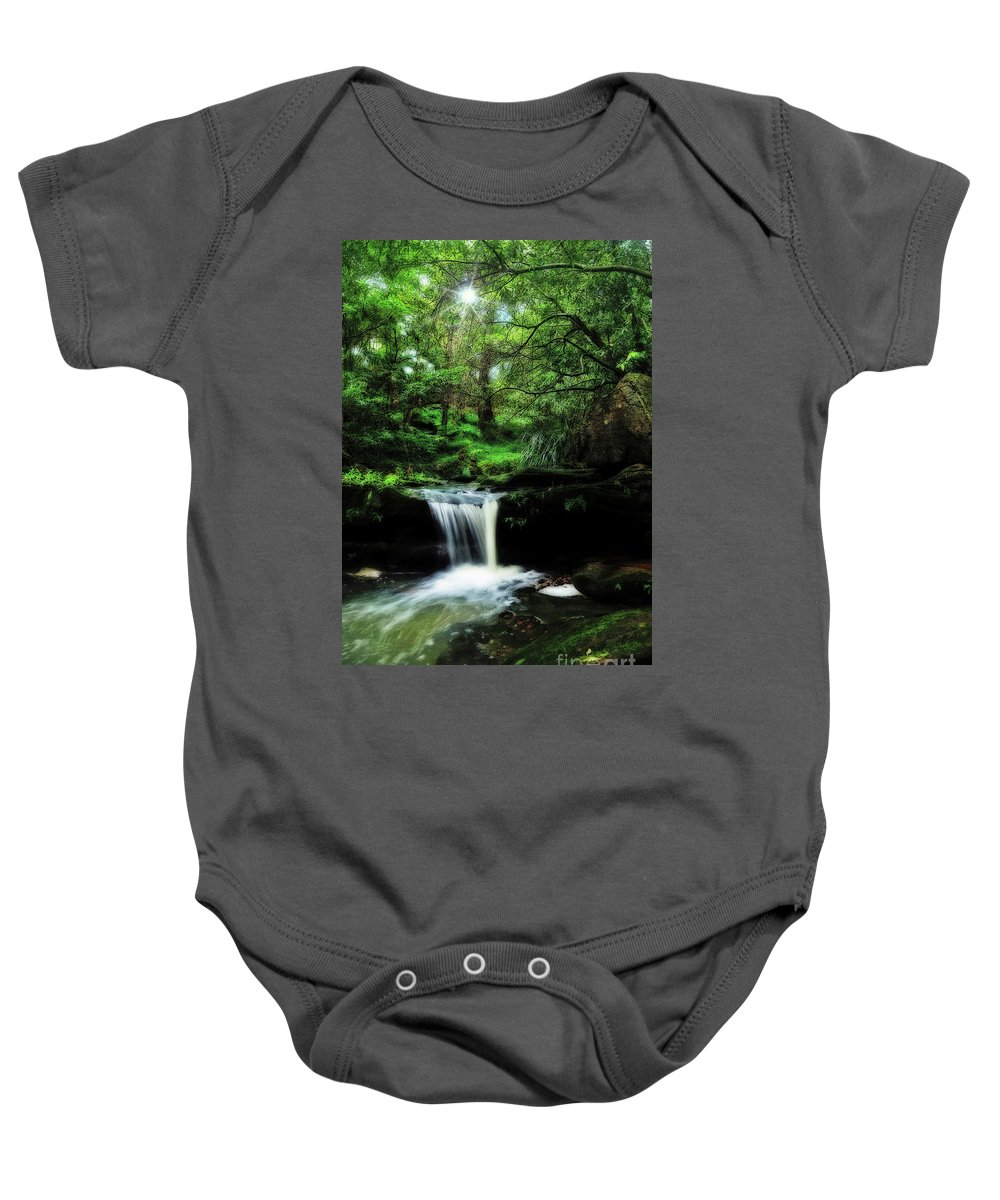 Photography Baby Onesie featuring the photograph Hidden Rainforest - Painterly by Kaye Menner