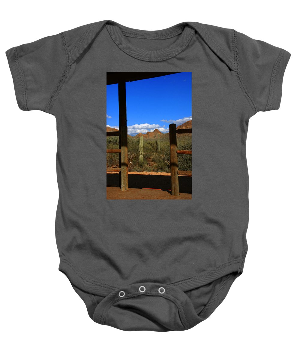 High Chaparral Baby Onesie featuring the photograph High Chaparral - Mountain View by Susanne Van Hulst