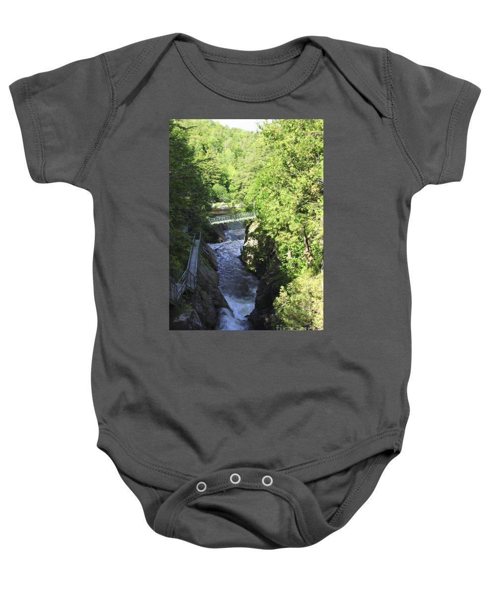 Newyork Baby Onesie featuring the photograph High Falls Gorge by Deborah Benoit