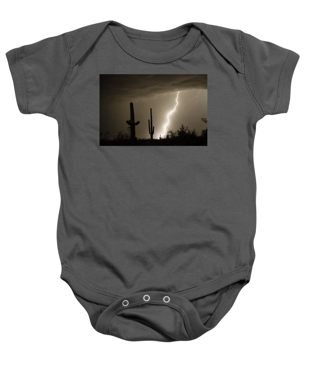 Lightning Baby Onesie featuring the photograph High Southwest Desert Lightning Strike by James BO Insogna