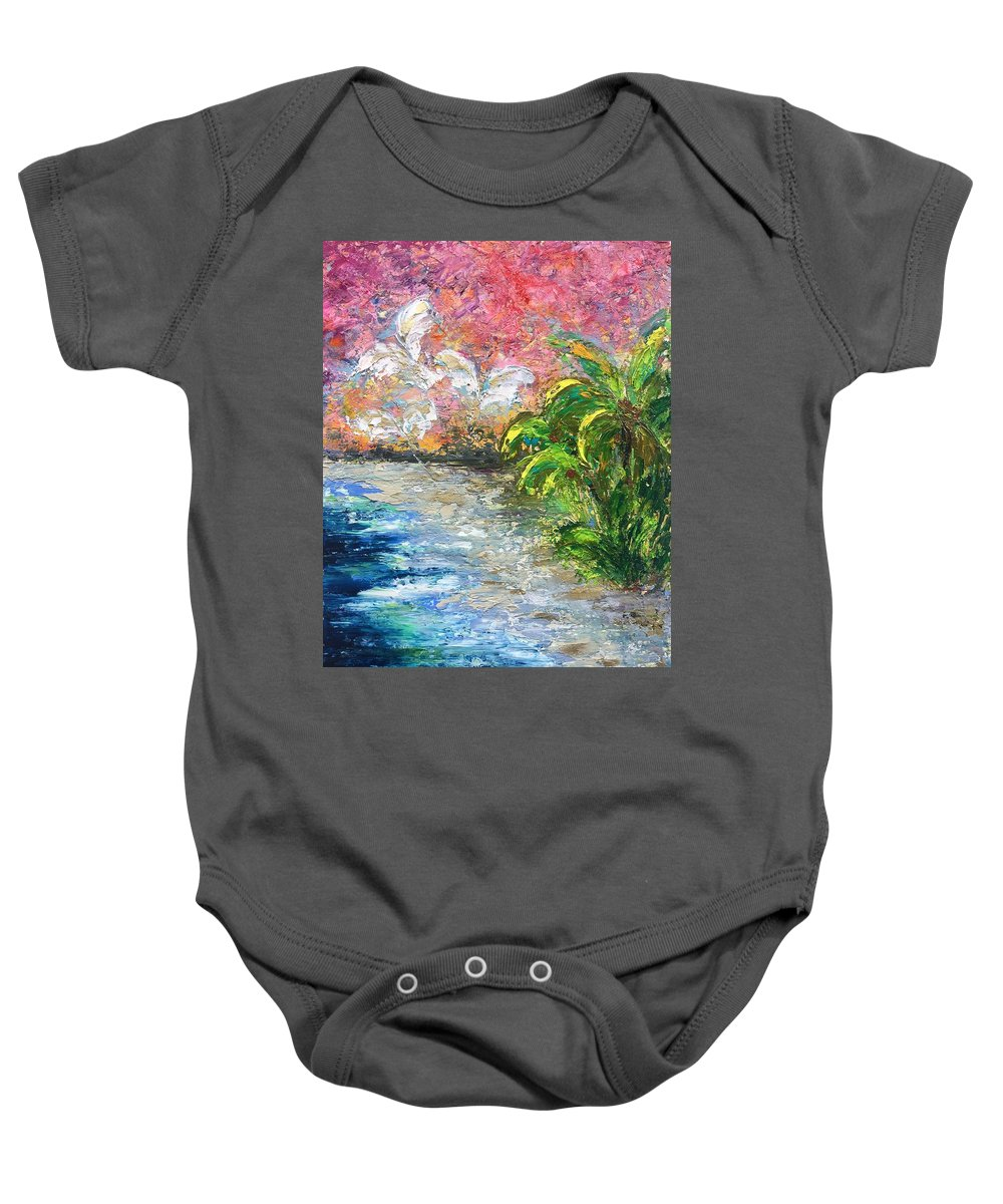 Ocean Baby Onesie featuring the painting High Tide In Paradise by Andrea Beloff