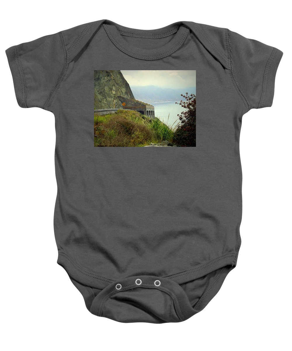 Highway-1 Baby Onesie featuring the photograph Highway 1 At Lucia South Of Big Sur Ca by Joyce Dickens