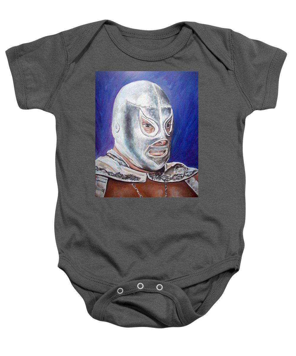 Wrestler Baby Onesie featuring the painting Hijo Del Santo by Nancy Almazan