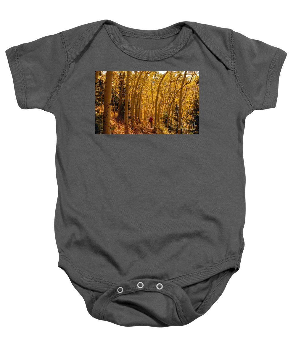 Fall Baby Onesie featuring the photograph Hiking In Fall Aspens by David Lee Thompson
