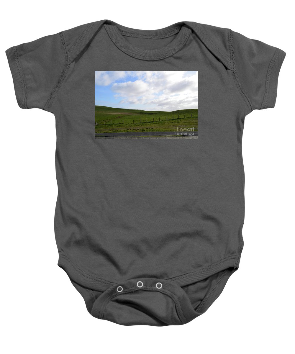 Hills Baby Onesie featuring the photograph Hiking Trails, Rolling Hills And Grass Fields In Ireland by DejaVu Designs