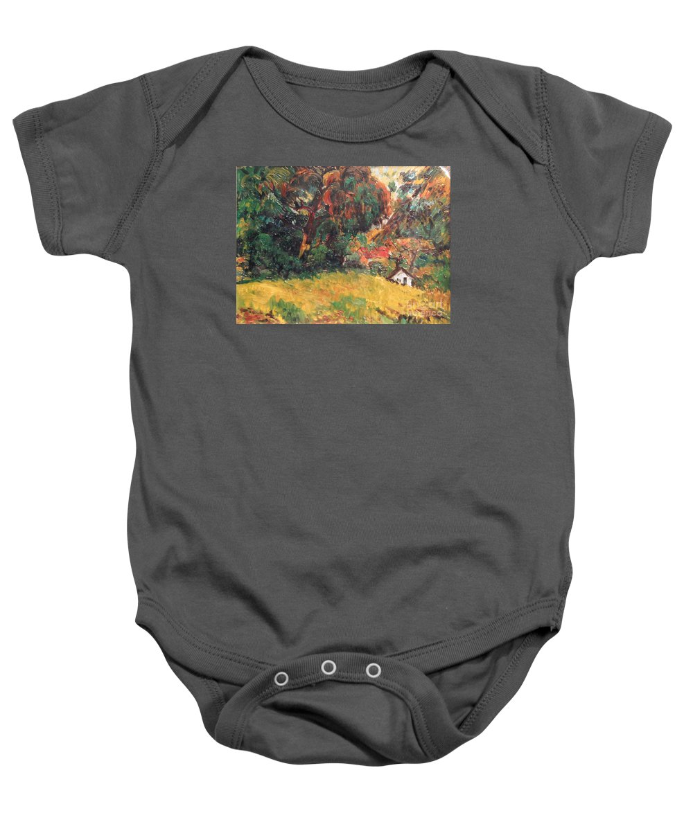 Tree Baby Onesie featuring the painting On the Hill by Meihua Lu