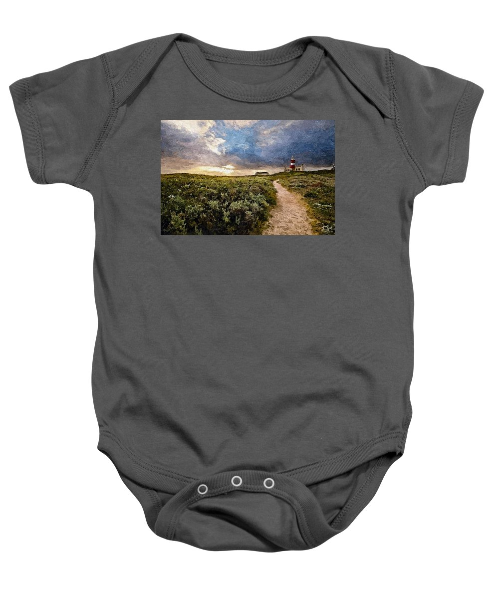 Announcement Baby Onesie featuring the photograph Hill Road To A Lighthouse H B by Gert J Rheeders