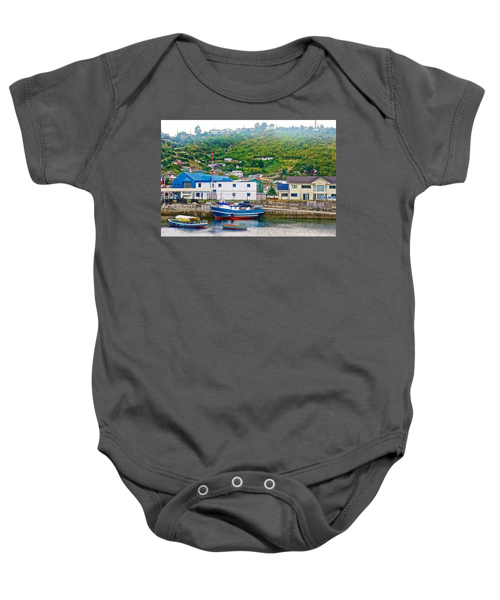 Hillside Along Harbor Near Angelo Fish Market In Puerto Montt Baby Onesie featuring the photograph Hillside Along Harbor Near Angelo Fish Market In Puerto Montt-chile by Ruth Hager