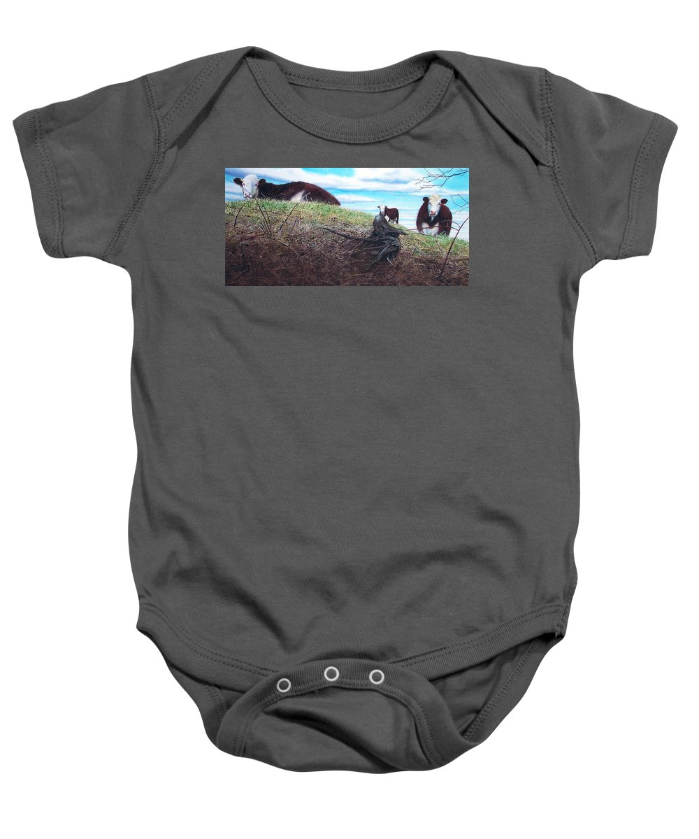 Steers Baby Onesie featuring the painting Hillside Retreat by Denny Bond