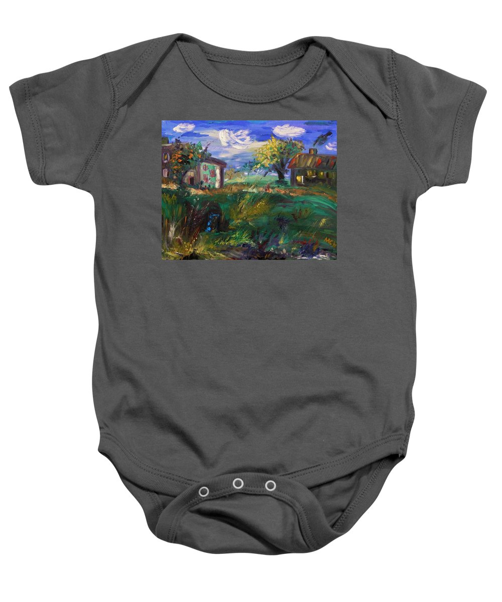 Landscape Baby Onesie featuring the painting Hillside Tranquility by Mary Carol Williams